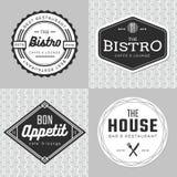 Σύνολο διακριτικών, εμβλήματος, ετικετών και λογότυπου για το εστιατόριο τροφίμων, να εξυπηρετήσει Απλό και ελάχιστο σχέδιο Στοκ φωτογραφίες με δικαίωμα ελεύθερης χρήσης