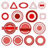 Σύνολο διακριτικών, ετικετών και αυτοκόλλητων ετικεττών χωρίς κείμενο στο κόκκινο Στοκ εικόνες με δικαίωμα ελεύθερης χρήσης