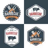 Σύνολο διακριτικών, ετικετών και λογότυπων για το εστιατόριο, το κατάστημα χοιρινού κρέατος τροφίμων και τη σχάρα Απλό και ελάχισ διανυσματική απεικόνιση