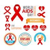 Σύνολο διακριτικών του AIDS Διανυσματική συλλογή Σταματήστε τις ενισχύσεις απεικόνιση αποθεμάτων