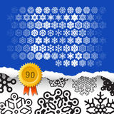 Σύνολο 90 διανυσματικά snowflakes Στοκ Φωτογραφίες