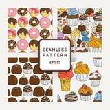 Σύνολο διανυσματικής καραμέλας, τόξων και Muffins άνευ ραφής σχεδίων Γλυκιά σύσταση κόμματος Στοκ Φωτογραφία