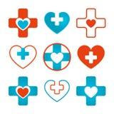 Σύνολο διανυσματικής καρδιάς & διαγώνιων ιατρικών εικονιδίων Ελεύθερη απεικόνιση δικαιώματος