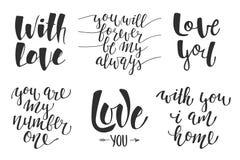 Σύνολο διανυσματικής ρομαντικής εγγραφής αγάπης για τις ευχετήριες κάρτες Στοκ φωτογραφία με δικαίωμα ελεύθερης χρήσης