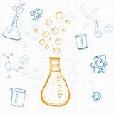 Σύνολο διανυσματικού εξοπλισμού επιστήμης που επισύρεται την προσοχή σε τακτοποιημένο χαρτί σημειώσεων. Ske Στοκ εικόνα με δικαίωμα ελεύθερης χρήσης