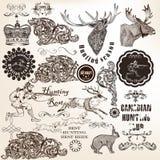 Σύνολο διανυσματικού διακοσμητικού κυνηγιού και floral στοιχείων στον τρύγο Στοκ Εικόνες