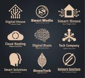 Σύνολο διανυσματικού λογότυπου τεχνολογίας, δικτύων και πληροφορικής Στοκ Εικόνες