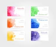 Σύνολο διανυσματικού προτύπου επαγγελματικών καρτών watercolor Στοκ Φωτογραφία