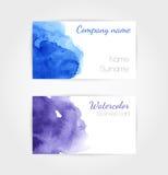 Σύνολο διανυσματικού προτύπου επαγγελματικών καρτών watercolor Στοκ Εικόνες