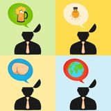 Σύνολο διανυσματικών απεικονίσεων με τις ανθρώπινες σκέψεις Στοκ εικόνα με δικαίωμα ελεύθερης χρήσης