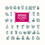 Σύνολο διανυσματικών απεικονίσεων των εικονιδίων των ποτών Στοκ Εικόνα