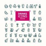 Σύνολο διανυσματικών απεικονίσεων των εικονιδίων των ποτών Στοκ Εικόνες