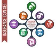 Σύνολο 8 διανυσματικών ασφαλιστικών εικονιδίων απεικόνιση αποθεμάτων