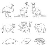 Σύνολο διανυσματικών αυστραλιανών ζώων στα περιγράμματα ελεύθερη απεικόνιση δικαιώματος