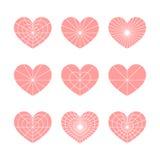 Σύνολο διανυσματικών γραμμικών γραφικών τυποποιημένων καρδιών Σύμβολο της αγάπης Στοκ Φωτογραφία
