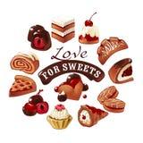 Σύνολο διανυσματικών γλυκών εικονιδίων Στοκ φωτογραφία με δικαίωμα ελεύθερης χρήσης