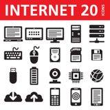 Διαδίκτυο & υπολογιστής 20 διανυσματικά εικονίδια Στοκ Φωτογραφίες