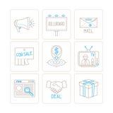 Σύνολο διανυσματικών εικονιδίων επιχειρήσεων ή μάρκετινγκ και έννοιες στο μονο λεπτό ύφος γραμμών απεικόνιση αποθεμάτων