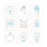 Σύνολο διανυσματικών εικονιδίων επιχειρήσεων ή χρηματοδότησης και έννοιες στο μονο λεπτό ύφος γραμμών απεικόνιση αποθεμάτων