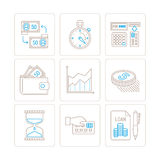 Σύνολο διανυσματικών εικονιδίων επιχειρήσεων ή χρηματοδότησης και έννοιες στο μονο λεπτό ύφος γραμμών ελεύθερη απεικόνιση δικαιώματος