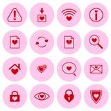 Σύνολο διανυσματικών εικονιδίων με τα σύμβολα καρδιών Στοκ Εικόνες