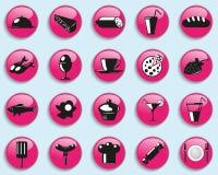 Σύνολο διανυσματικών εικονιδίων στο θέμα των τροφίμων και των ποτών διανυσματική απεικόνιση