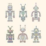 Σύνολο διανυσματικών εικονιδίων των ρομπότ που χρωματίζονται με τις γραμμές που χρωματίζονται στα μαλακά χρώματα κρητιδογραφιών Διανυσματική απεικόνιση