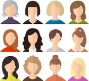 Σύνολο διανυσματικών ειδώλων ή εικονιδίων γυναικών Ελάχιστη επίπεδη απεικόνιση Συλλογή χαρακτήρων Στοκ Εικόνες