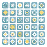 Σύνολο διανυσματικών, επίπεδων εικονιδίων λουλουδιών λουλουδιών Στοκ Φωτογραφία