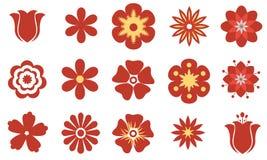 Σύνολο διανυσματικών επίπεδων κόκκινων λουλουδιών Σύμβολο ή εικονίδιο Στοκ εικόνα με δικαίωμα ελεύθερης χρήσης