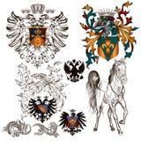 Σύνολο διανυσματικών εραλδικών στοιχείων Στοκ Εικόνες