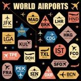 Σύνολο διανυσματικών ετικεττών με τους κώδικες παγκόσμιων αερολιμένων ελεύθερη απεικόνιση δικαιώματος