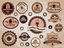 Διανυσματικές ετικέτες καφέ Στοκ Εικόνες