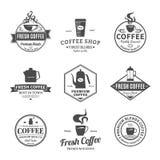 Σύνολο διανυσματικών ετικετών καφετεριών, εικονίδια και στοιχεία σχεδίου Στοκ Εικόνα