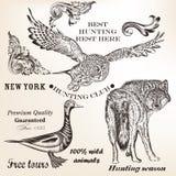 Σύνολο διανυσματικών ζώων για το σχέδιο κυνηγιού Στοκ εικόνα με δικαίωμα ελεύθερης χρήσης
