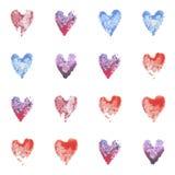 Σύνολο διανυσματικών καρδιών watercolor πρότυπο άνευ ραφής Στοκ εικόνες με δικαίωμα ελεύθερης χρήσης