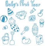 Σύνολο 15 διανυσματικών καλών editable συρμένων χέρι αντικειμένων για την προσοχή μωρών Στοκ Φωτογραφία