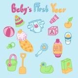 Σύνολο διανυσματικών καλών editable συρμένων χέρι αντικειμένων για την προσοχή μωρών Στοκ Φωτογραφία