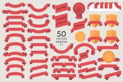Σύνολο 50 διανυσματικών κορδελλών Στοκ εικόνες με δικαίωμα ελεύθερης χρήσης