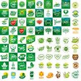 Σύνολο διανυσματικών λογότυπων για τα φυσικά προϊόντα Στοκ Εικόνες