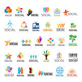Σύνολο διανυσματικών λογότυπων κοινωνικών Στοκ Φωτογραφία