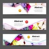 Σύνολο διανυσματικών οριζόντιων polygonal όμορφων χρωμάτων εμβλημάτων τριγώνων ελεύθερη απεικόνιση δικαιώματος
