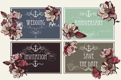 Σύνολο διανυσματικών προσκλήσεων με τα λουλούδια magnolia Στοκ φωτογραφίες με δικαίωμα ελεύθερης χρήσης