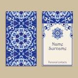 Σύνολο διανυσματικών προτύπων επαγγελματικών καρτών Πορτογαλικά, μαροκινά, Azulejo, αραβικές, ασιατικές διακοσμήσεις ελεύθερη απεικόνιση δικαιώματος