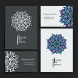 Σύνολο διανυσματικών προτύπων σχεδίου Επαγγελματική κάρτα με τη floral διακόσμηση κύκλων Ύφος Mandala Στοκ φωτογραφίες με δικαίωμα ελεύθερης χρήσης