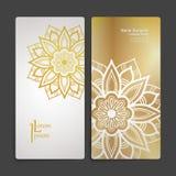 Σύνολο διανυσματικών προτύπων σχεδίου Επαγγελματική κάρτα με τη floral διακόσμηση κύκλων Ύφος Mandala Στοκ Φωτογραφία