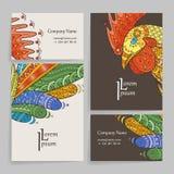 Σύνολο διανυσματικών προτύπων σχεδίου Φυλλάδια στο τυχαίο ζωηρόχρωμο ύφος Σχέδια Zentangle Στοκ φωτογραφία με δικαίωμα ελεύθερης χρήσης
