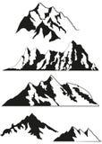 Σύνολο διανυσματικών σκιαγραφιών των βουνών Στοκ φωτογραφία με δικαίωμα ελεύθερης χρήσης