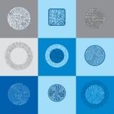 Σύνολο διανυσματικών σχεδίων τεχνολογίας ΚΜΕ με το τετραγωνικό και κυκλικό BL Στοκ Φωτογραφίες