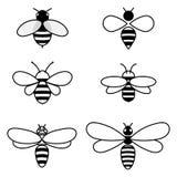 Σύνολο διανυσματικών τυποποιημένων μελισσών Συλλογή των λογότυπων με μια μέλισσα μελιού Εικονίδια με τα έντομα Στοκ φωτογραφία με δικαίωμα ελεύθερης χρήσης